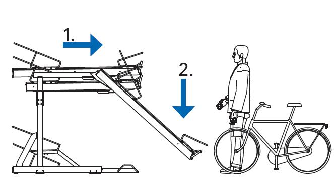 Krok 1 i 2 Chwyc za raczke pociagnij stanowisko do siebie a nastepnie je obniz - Na pętli Górczyn zamontowano dwupoziomowe stojaki rowerowe