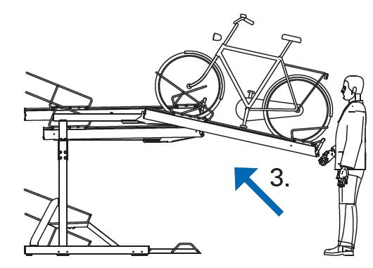 Krok 3 Wprowadz rower w prowadnice i podnies stanowisko z rowerem - Na pętli Górczyn zamontowano dwupoziomowe stojaki rowerowe