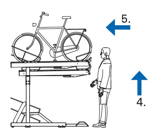 Krok 4 i 5 Podnies stanowisko do pozycji poziomej i wsun do pozycji wyjsciowej - Na pętli Górczyn zamontowano dwupoziomowe stojaki rowerowe