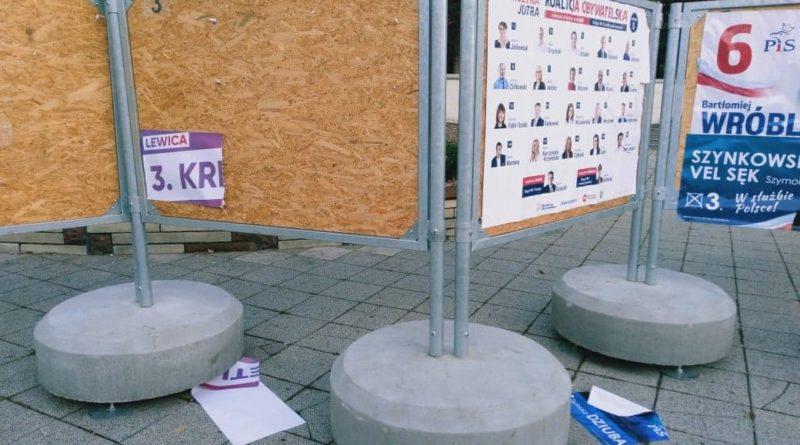 zerwane plakaty wyborcze park wilsona 2 800x445 - Poznań: Policja zatrzymała osoby odpowiedzialne za niszczenie plakatów wyborczych