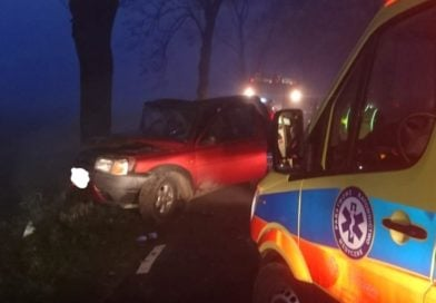 Mgła i wypadki. Land Rover uderzył w drzewo!