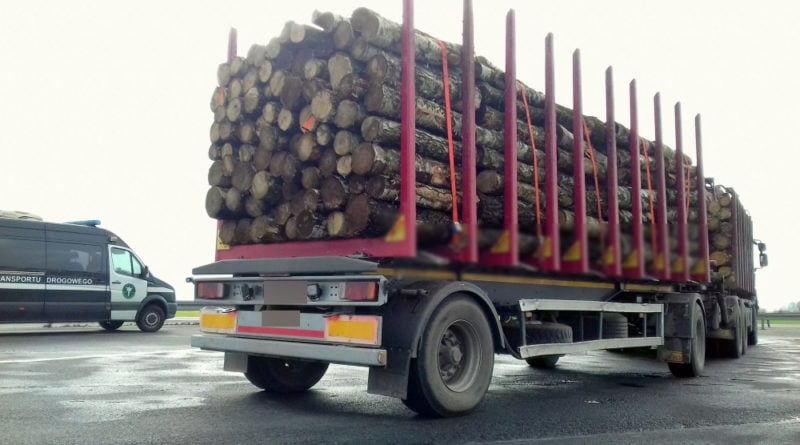 Ciężarówka z drewnem, kontrola fot. ITD