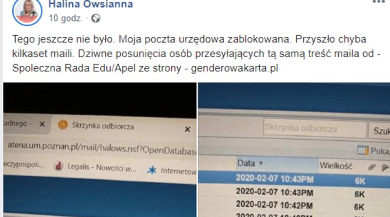 poczta radnej h. owsiannej 800x445 - Poznań: Spam zablokował skrzynkę poznanskiej radnej. Z powodu... równości