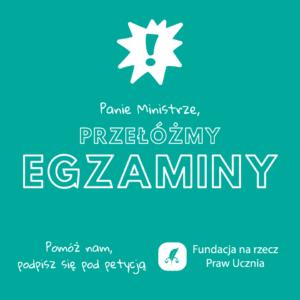 """petycja fundacja na rzecz praw ucznia  300x300 - Poznań: Czy egzaminy powinny być przełożone? """"Bardzo wysokie zagrożenie epidemiologiczne"""""""