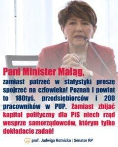 """plakat senator rotnickiej 240x300 - Senator Rotnicka ostro do minister Maląg: """"Niech rząd wesprze samorządowców!"""""""