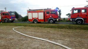 pozar fot. osp granowo5 300x169 - Buk: Spłonęło zboże na polu. Jedna osoba poszkodowana