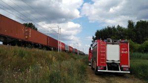 pozar hamulcow fot. osp golina2 300x169 - Konin: Pożar hamulców lokomotywy. Zablokowana trasa kolejowa i droga