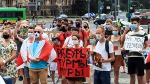 wolnosc dla bialorusi fot. s.wachala12 300x169 - Poznań: Demonstranci żądali wolności dla Białorusi