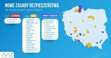 Ministerstwo opublikowało mapę żółtych i czerwonych stref. Jest Wielkopolska!