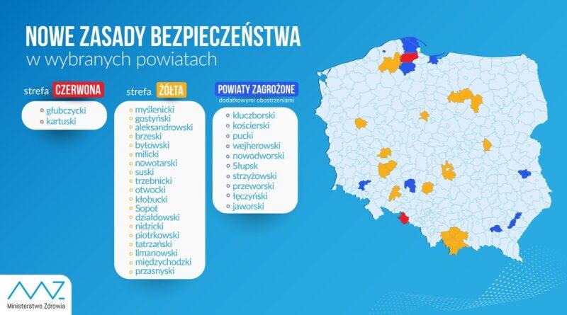 mapa stref zagrożeń od 26 września fot. Ministerstwo Zdrowia