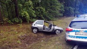 wypadek fot. policja miedzychod2 300x169 - Międzychód: Koziołkowanie pod Sierakowem
