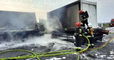 pożar ciężarówki fot. OSP Bralin