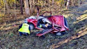 wypadek fot. policja grodzisk2 300x169 - Grodzisk: Wypadek w Rostarzewie. Są ranni