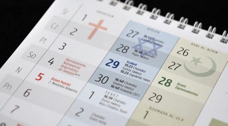 kalendarz trzech religii fot. UMP