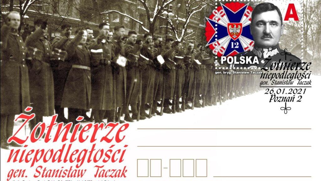kartka z wizerunkiem gen. taczaka fot. wbot 1024x576 - Wielkopolska: Pocztówka z generałem Taczakiem na święto 12 WBOT
