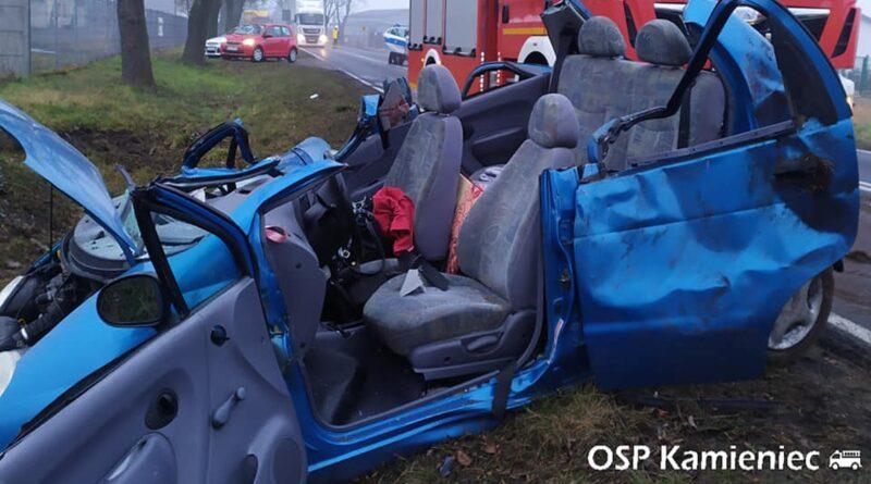wypadek fot. OSP KSRG Kamieniec.