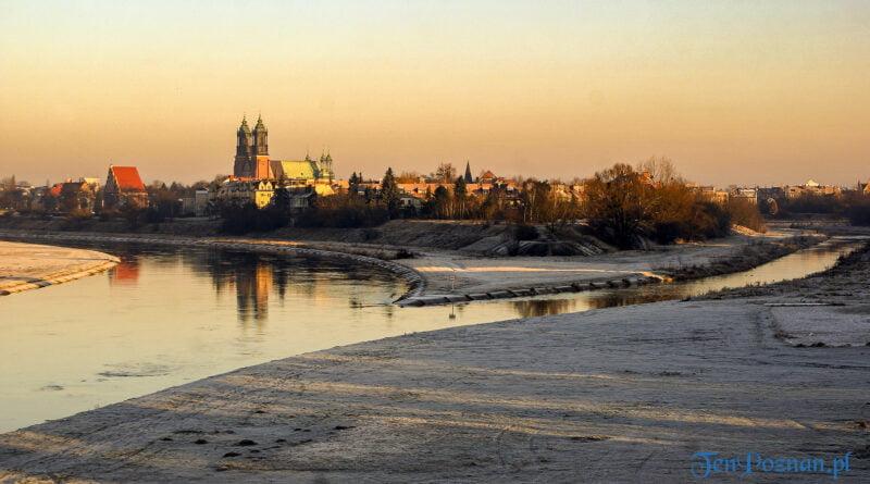 Zima rzeka Warta Cybina Ostrów Tumski Poznań fot. Sławek Wąchała
