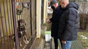 Bartosz Guss w schronisku dla zwierząt fot. UMP