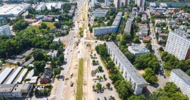 Postęp prac przy budowie trasy tramwajowej na Naramowice fot. PIM