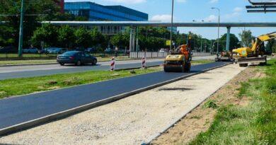 Grunwaldzka, budowa drogi rowerowej, fot. ZDM