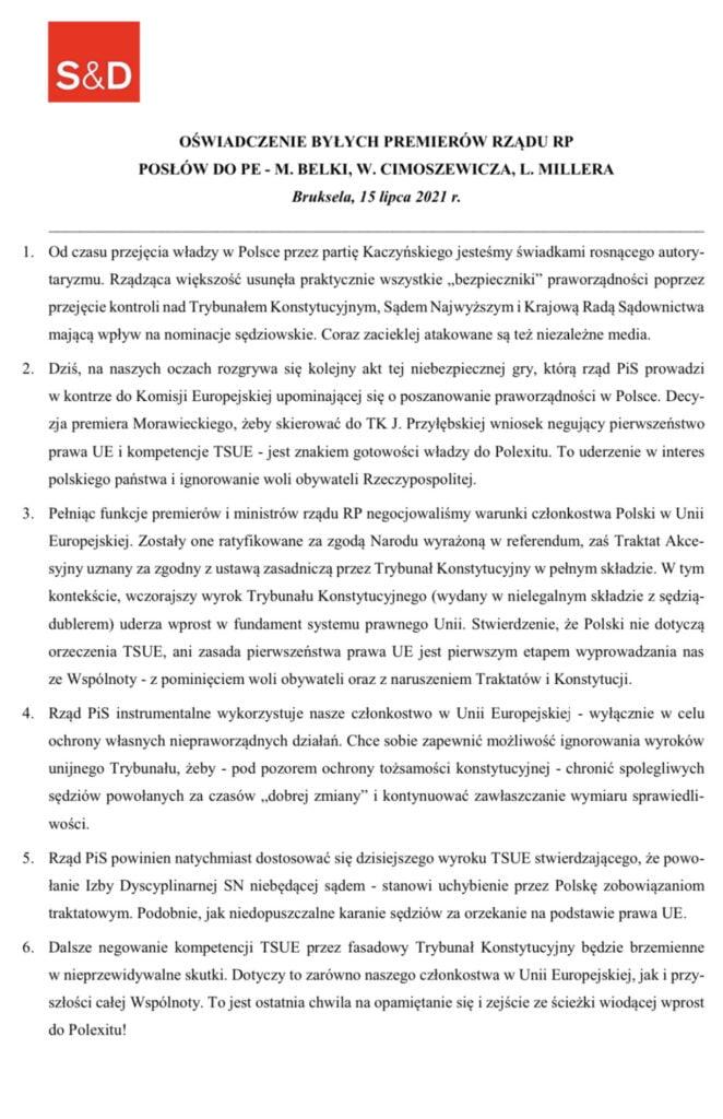 Oświadczenie premierów M. Belki, W. Cimoszewicza i L. Millera fot. TT L. Miller