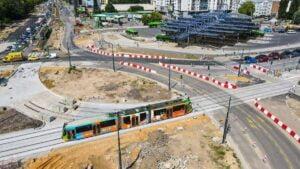 pierwsze tramwaje na rondzie Rataje fot. PIM