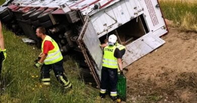 wypadek ciężarówki ze świniami fot. policja