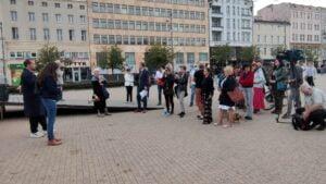 demonstracja w sprawie Stanu Wyjątkowego fot. K. Adamska