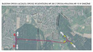 podpisanie umowy na budowę nowej drogi - mapa fot. WZDW