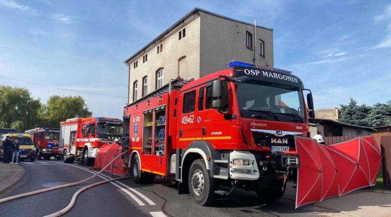 pożar Margonin fot. OSP KSRG Szamocin