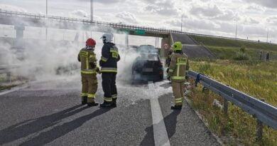 pożar samochodu fot. OSP Łubowo