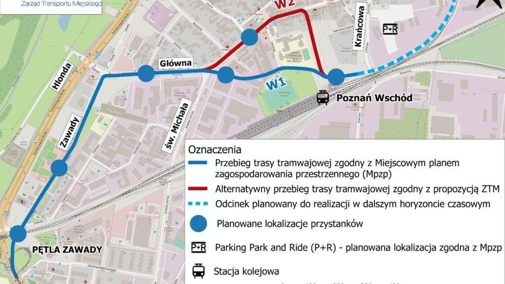 schemat planowanej trasy Poznań Wschód fot. ZTM